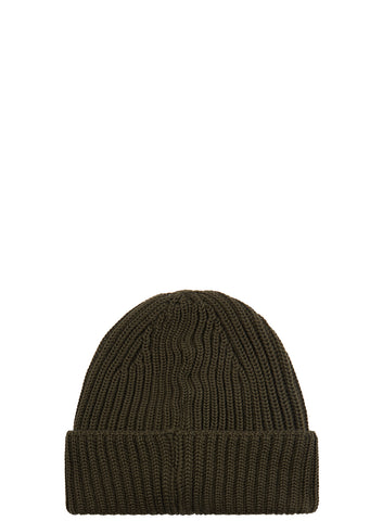 AW17 Ribbed Merino Wool Beanie in Khaki