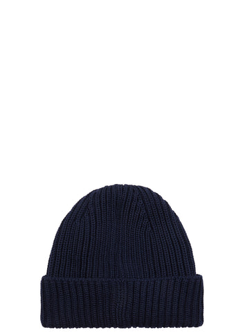 AW17 Ribbed Merino Wool Beanie in Navy
