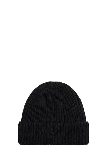 AW17 Ribbed Merino Wool Beanie in Black