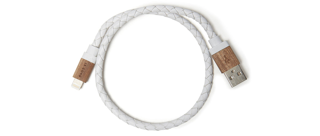 White Leather Charging Cable in White