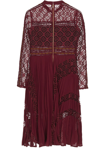 SS17 Long Sleeve Midi Dress in Burgundy