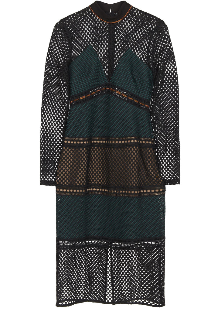 SS17 Fitted Midi Dress in Dark Forest Green