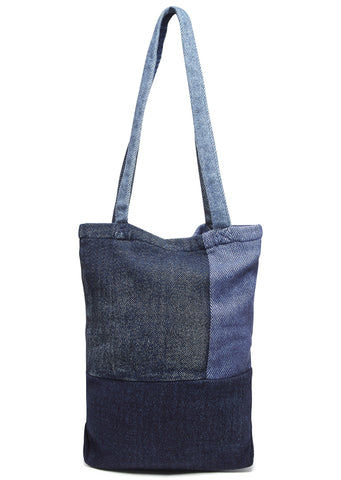 SS17 Kogin Tweet Patchwork Tote Bag in Indigo