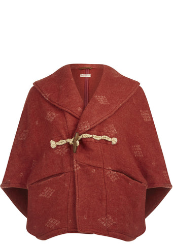 SS17 Western Blanket Wool Duffle Bolero Coat in Red