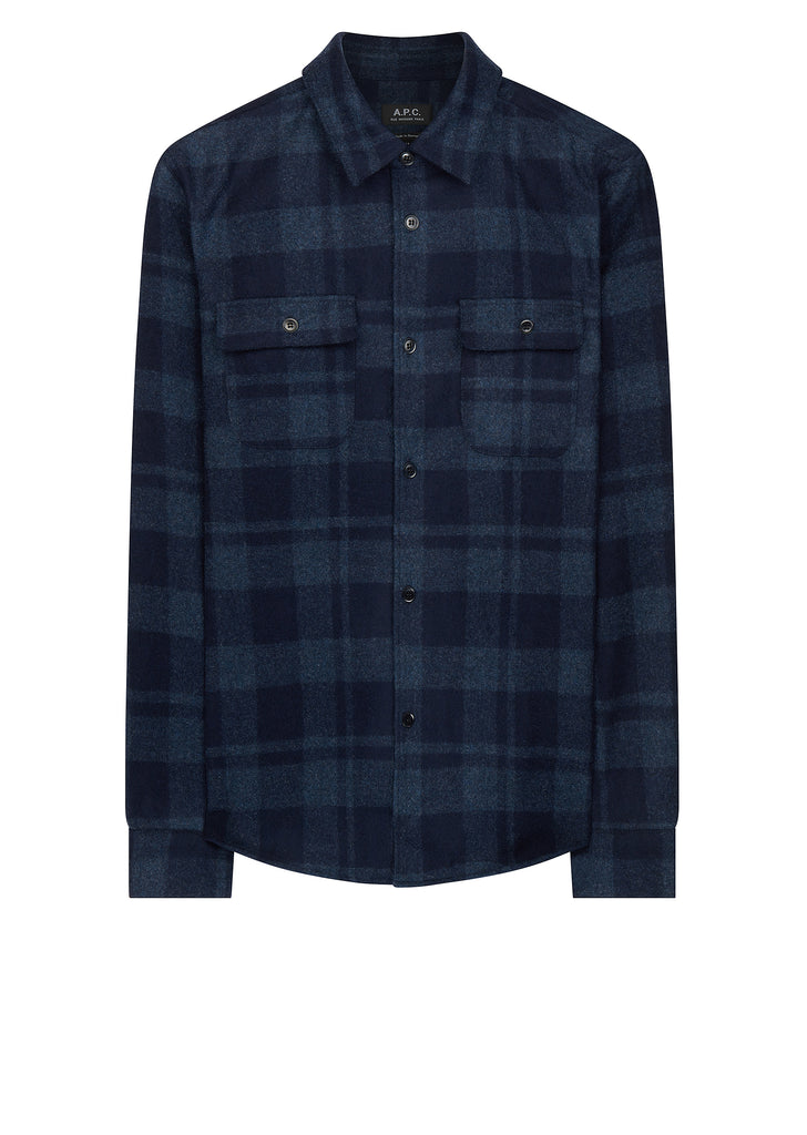 AW17 50s Mid Wool Check Overshirt in Blue
