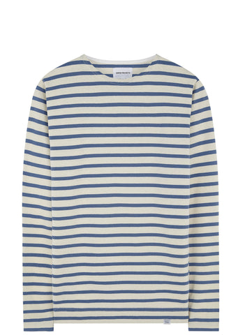 SS17 Gotfred Classic Compact Long Sleeve T-shirt in Ecru/Marginal Blue