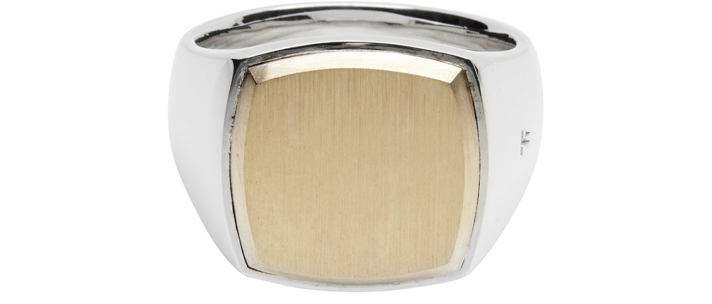 Cushion Gold Top Ring in Silver