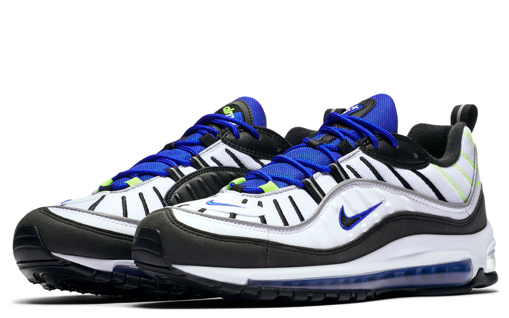 Air Max 98 in White/Racer Blue/Volt