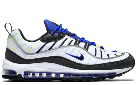 SS18 Air Max 98 in White/Racer Blue/Volt