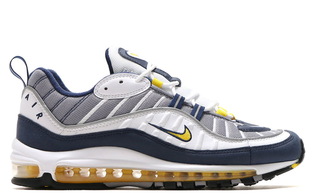 Air Max 98 in White/Tour Yellow/Midnight Navy