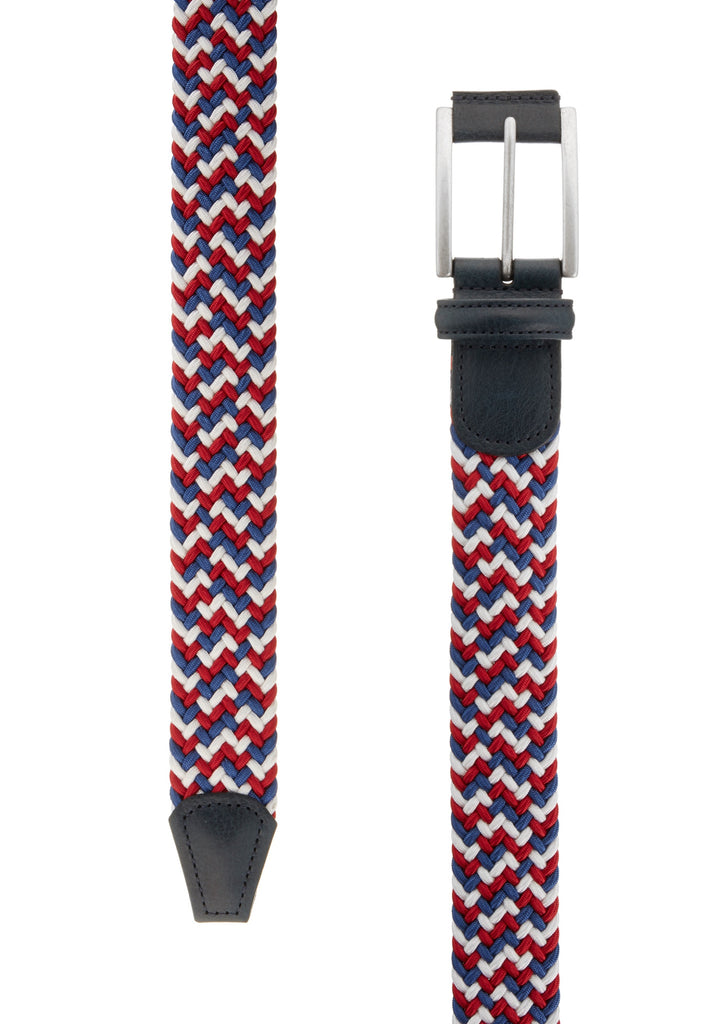 Woven Belt in Navy, Red and White
