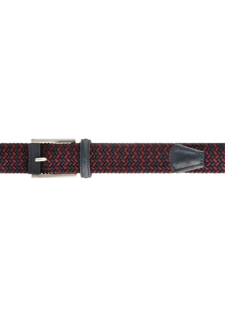 Woven Belt in Burgundy and Navy
