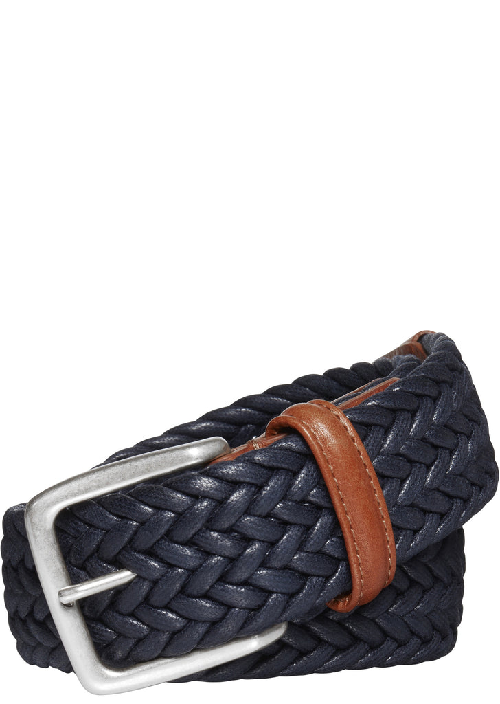 Waxed Woven Textile Belt in Navy