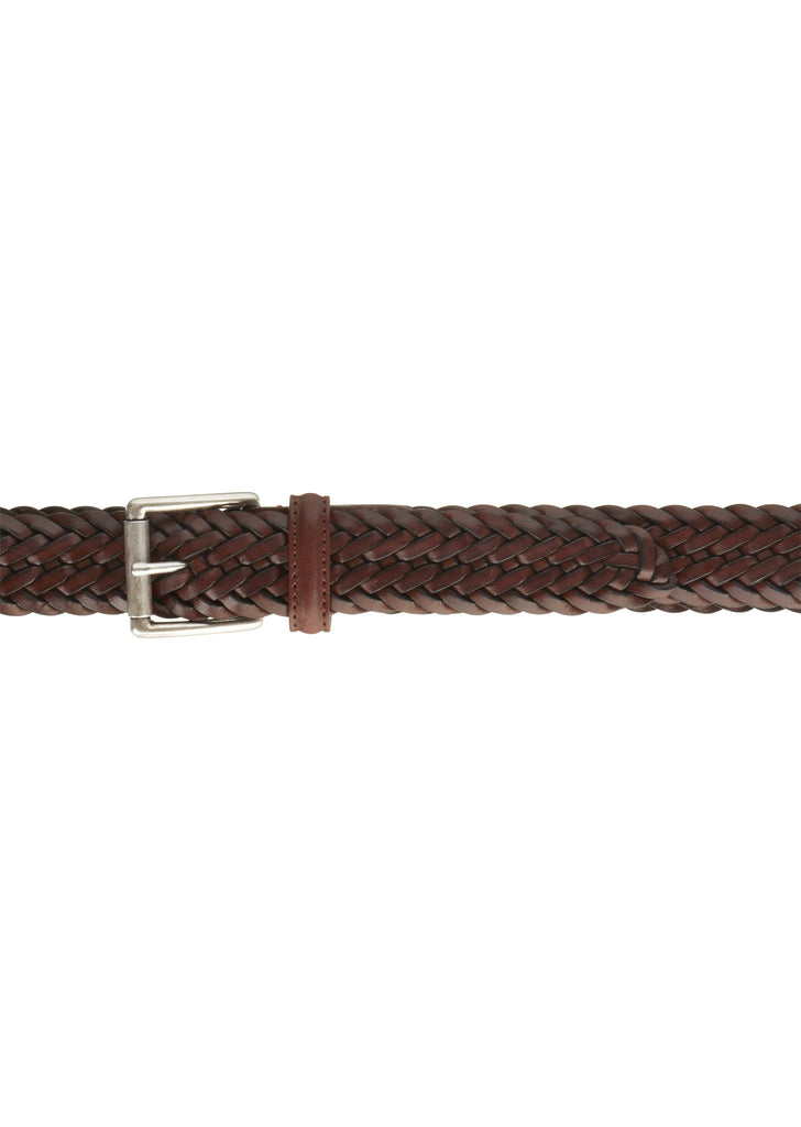 Woven Leather Belt in Brown