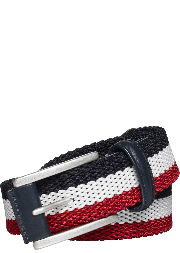 Woven Tubular Belt in Red, White and Navy