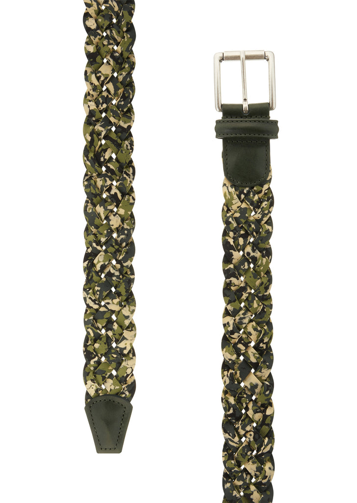 Woven Leather Camo Belt in Green