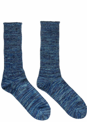 Slub Crew Socks in Blue