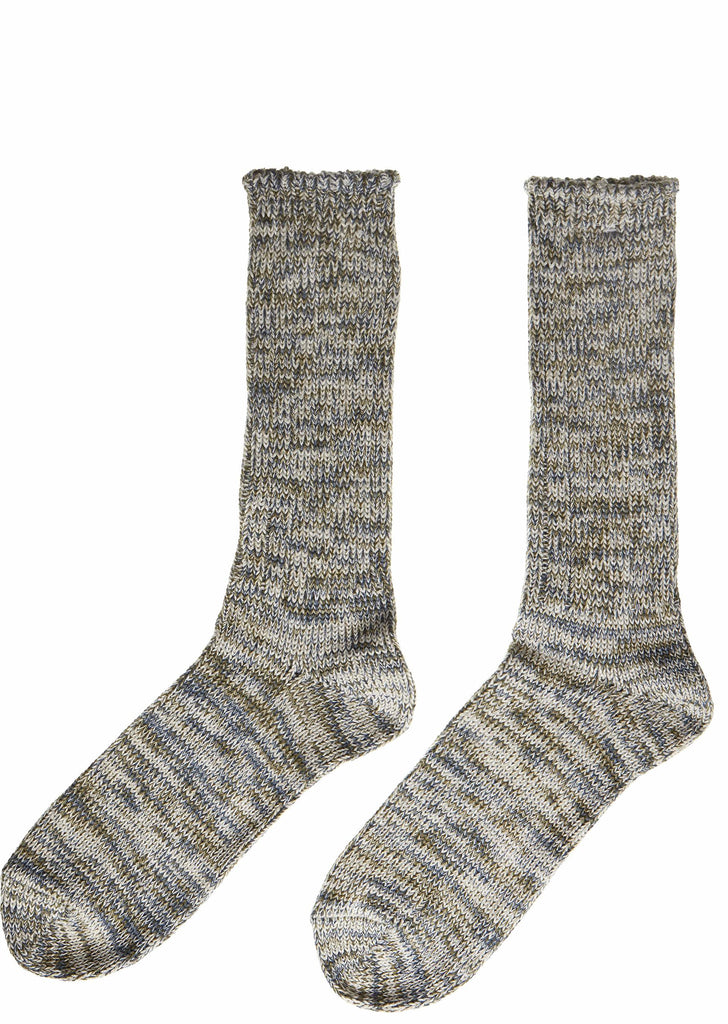 Slub Crew Socks in Grey