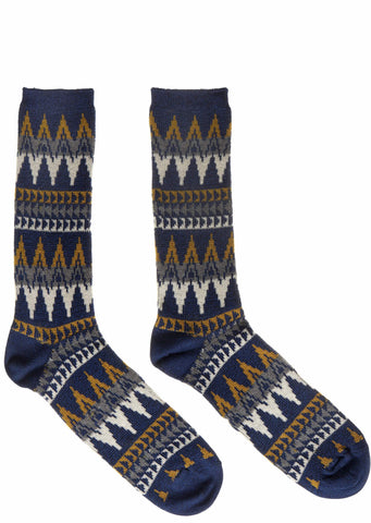 Slub Crew Socks in Navy