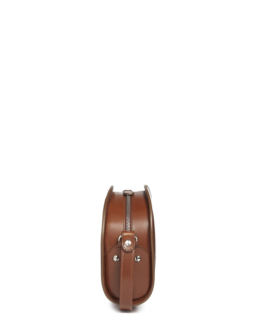 Half Moon Leather Shoulder Bag in Brown