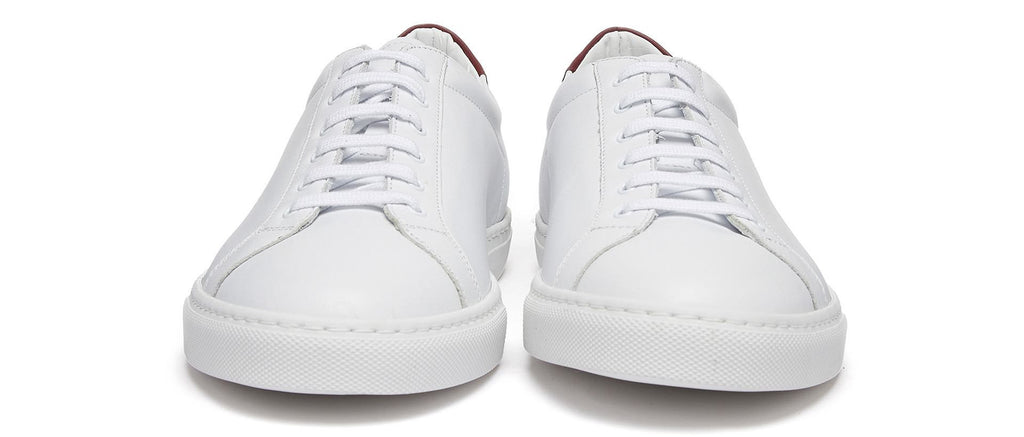 Achilles Retro Sneaker with Red Heel Tab in White
