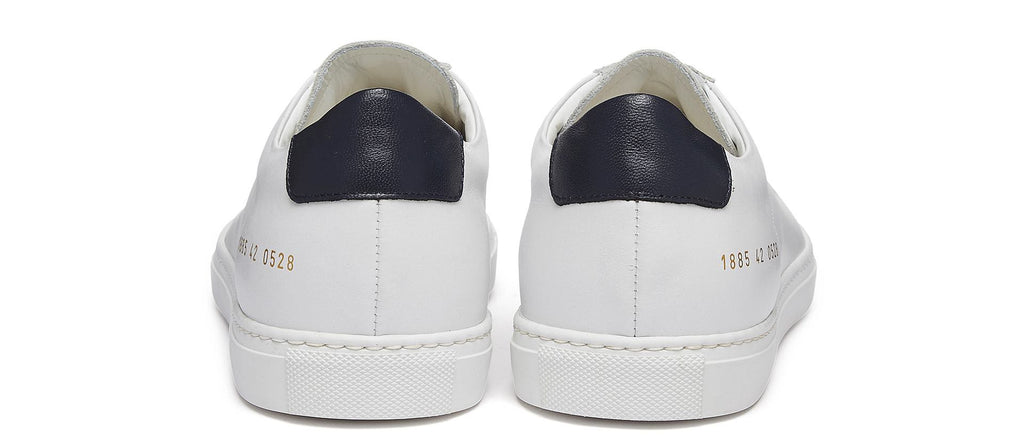 Achilles Retro Sneaker with Blue Heel Tab in White