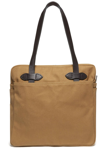 Tote Bag with Zipper in Tan