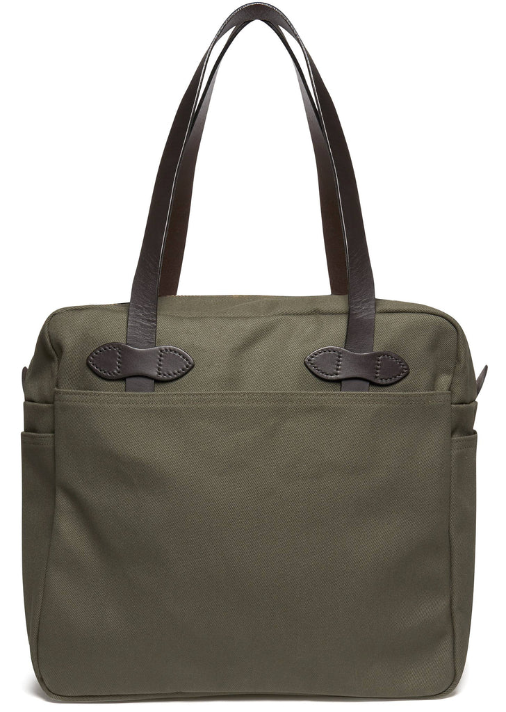Tote Bag with Zipper in Otter Green