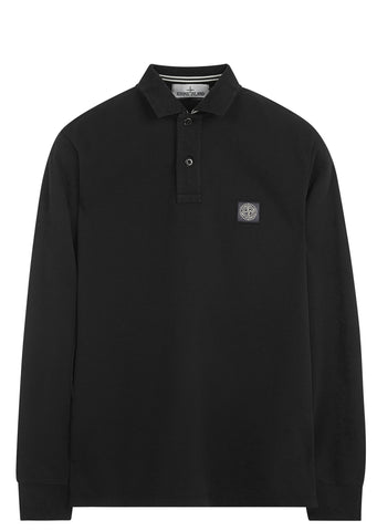 SS17 Cotton Piquet Long sleeve Polo Shirt in Black