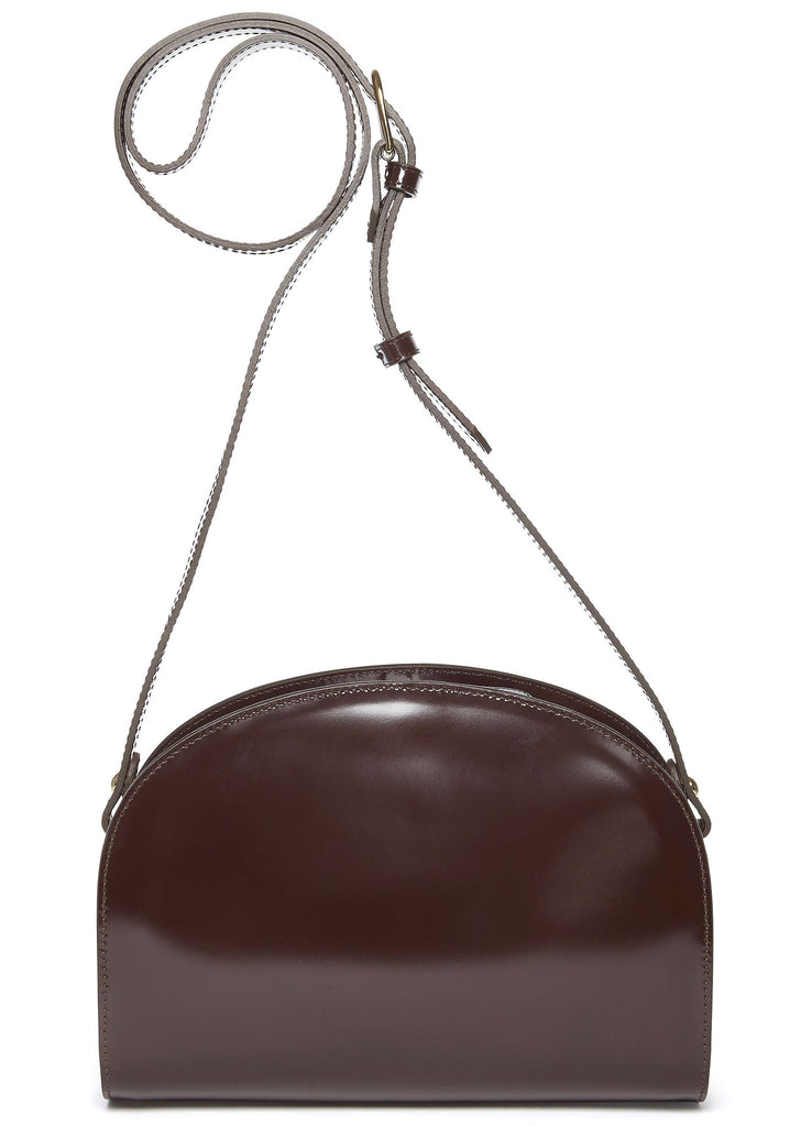 AW16 Half Moon Leather Shoulder Bag in Brown
