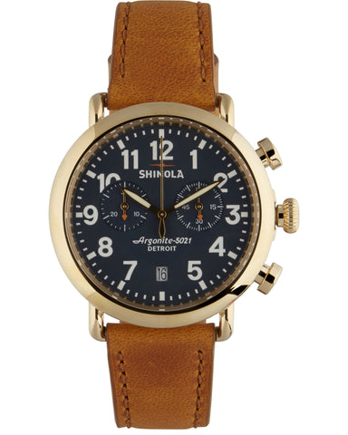 Runwell 41mm Chrono Watch in Blue & Brown