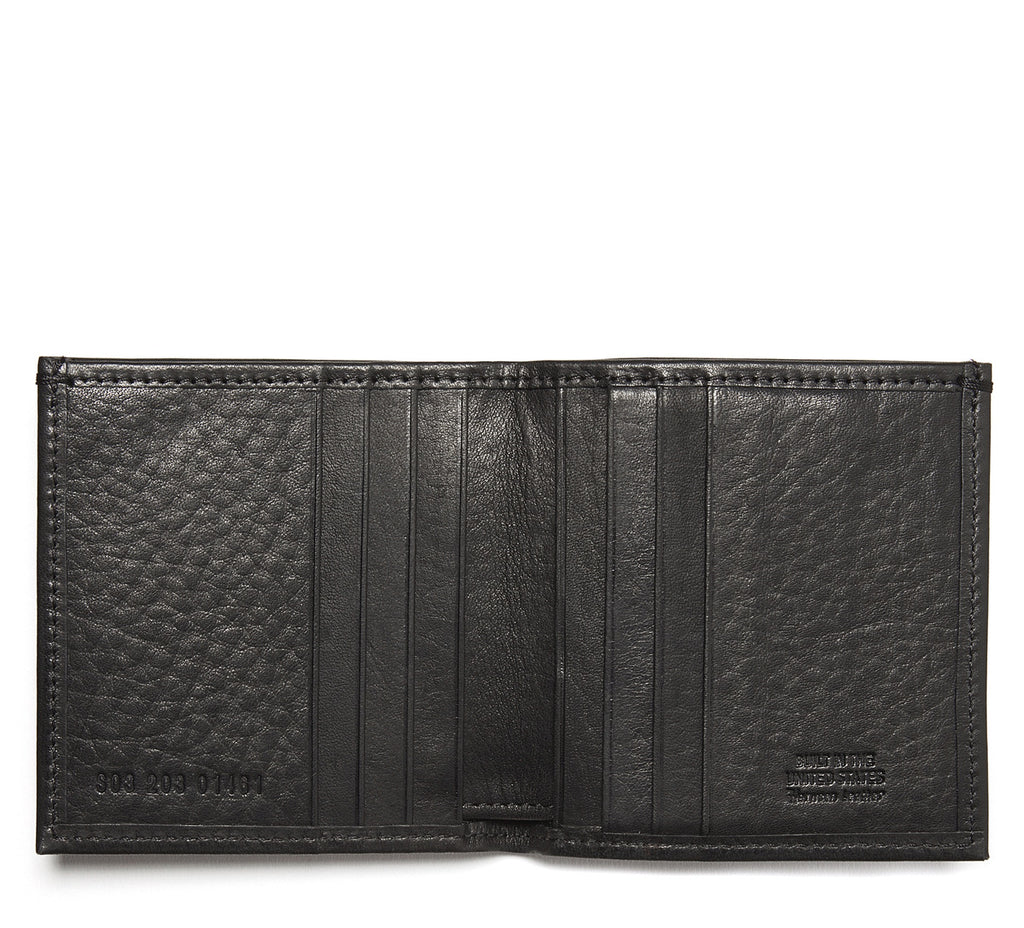 Square Bi-Fold Leather Wallet in Black