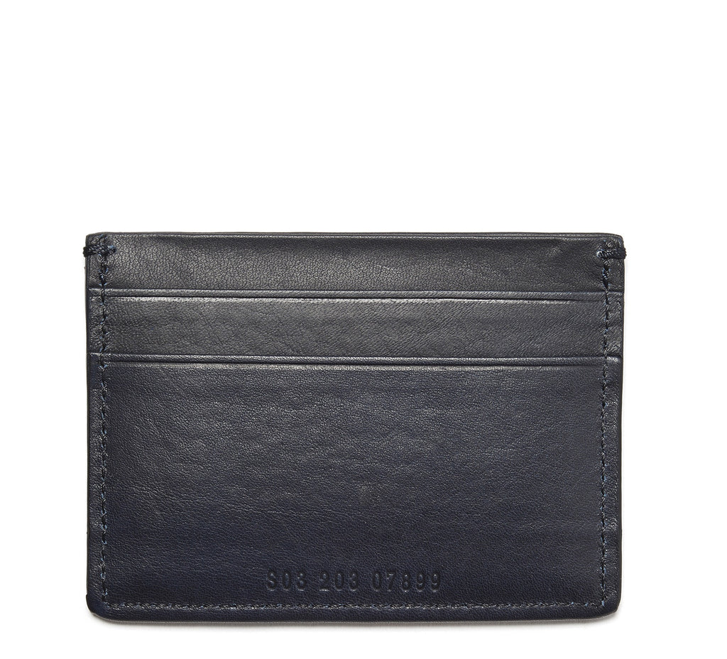 Leather 5 Pocket Card Case in Blue