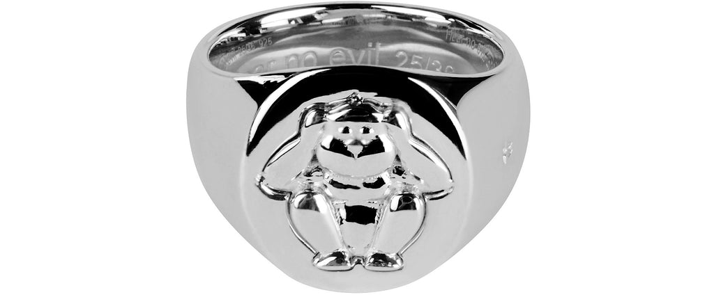 'Hear No Evil' Wise Monkey Ring in Silver