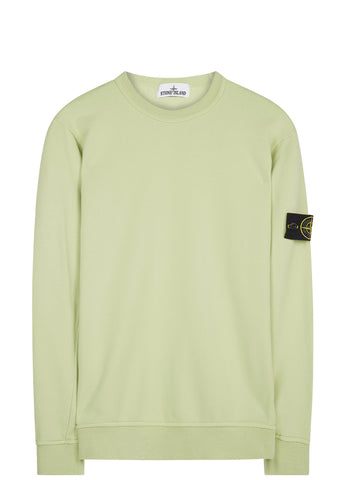 SS17 Brushed Cotton Fleece Crewneck Sweatshirt in Lime Green