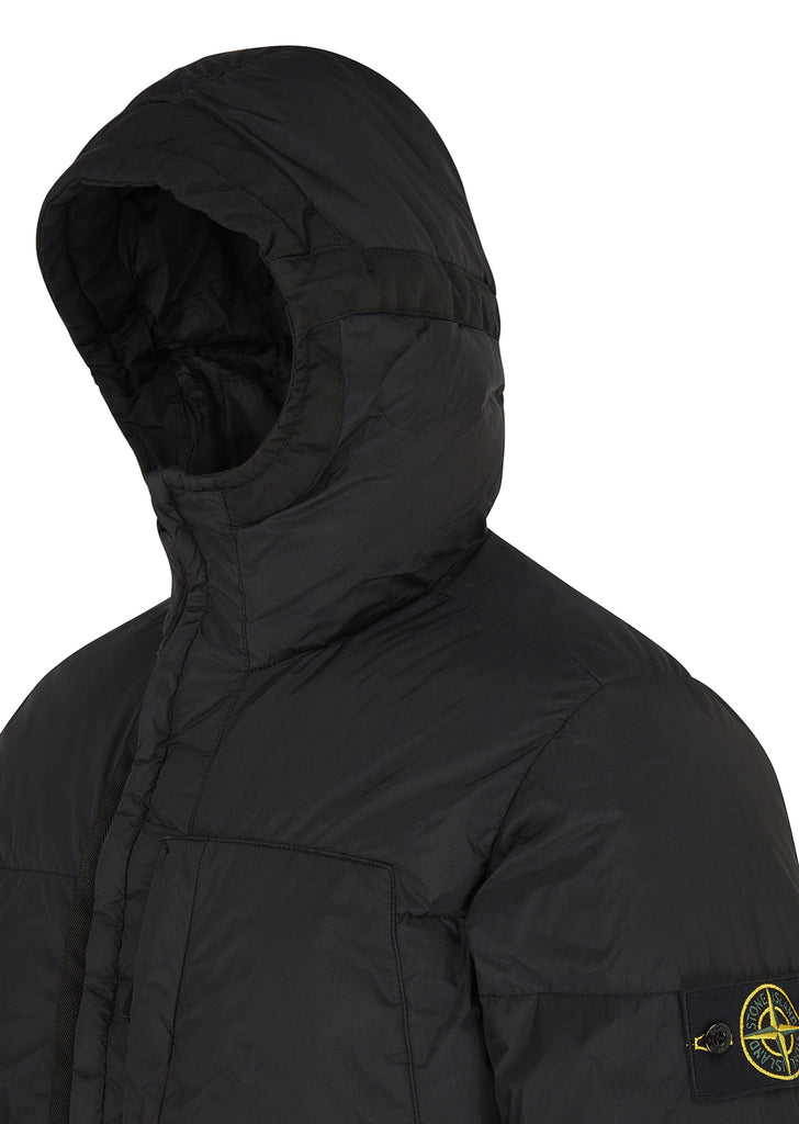 Garment Dyed Crinkle Reps Down Jacket in Black