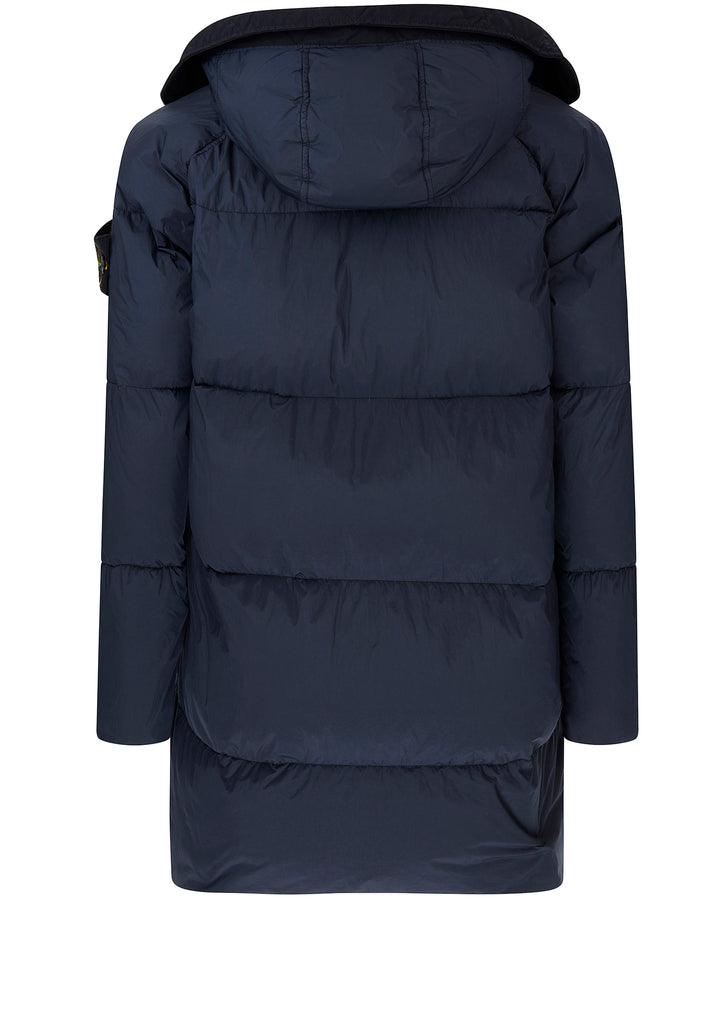 Garment Dyed Crinkle Reps NY Down Jacket in Marine Blue