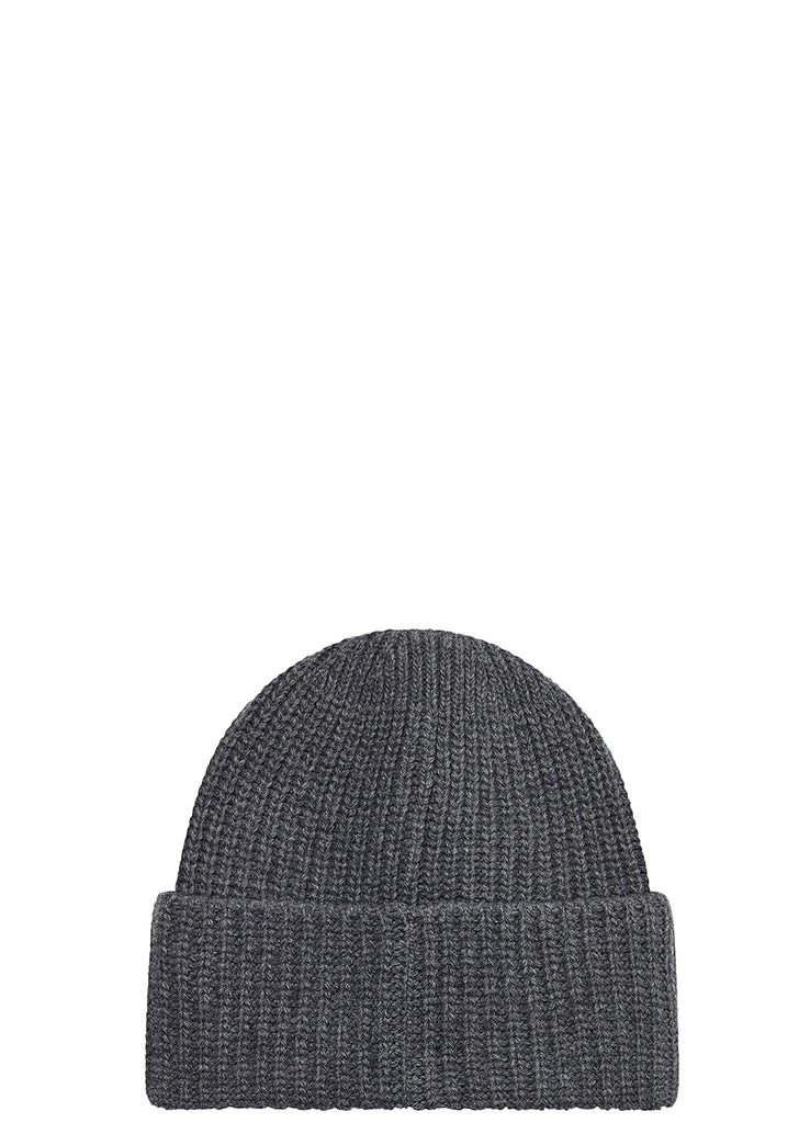 Ribbed Wool Hat in Charcoal