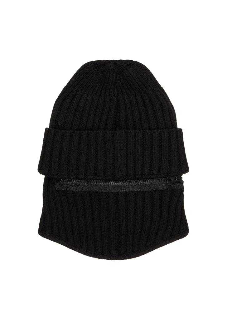 Ribbed Beanie with Face Mack in Black