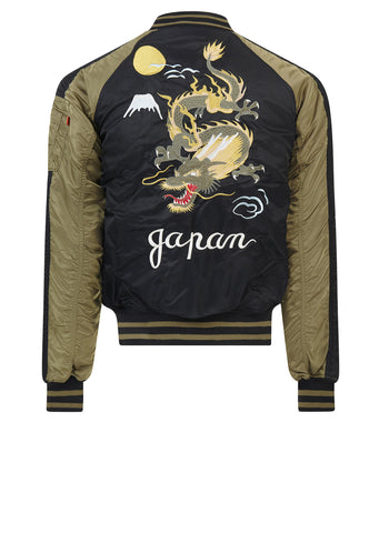Alpha Industries Japan Dragon Stadium Jacket in Black