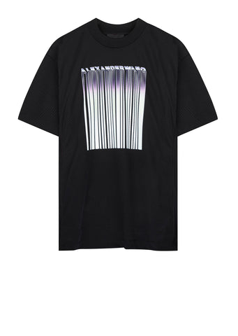 AW17 Athletic Mesh Barcode Tee in Black