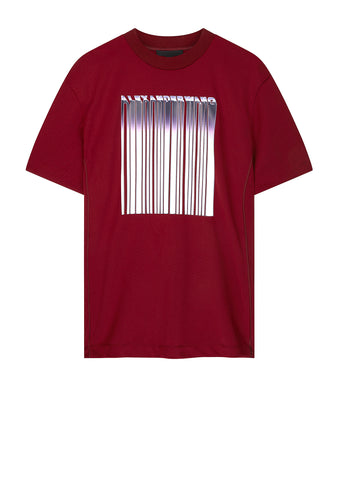 AW17 Athletic Mesh Barcode Tee in Red