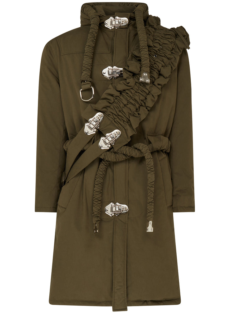 AW17 Down Filled Long Coat in Dark Green