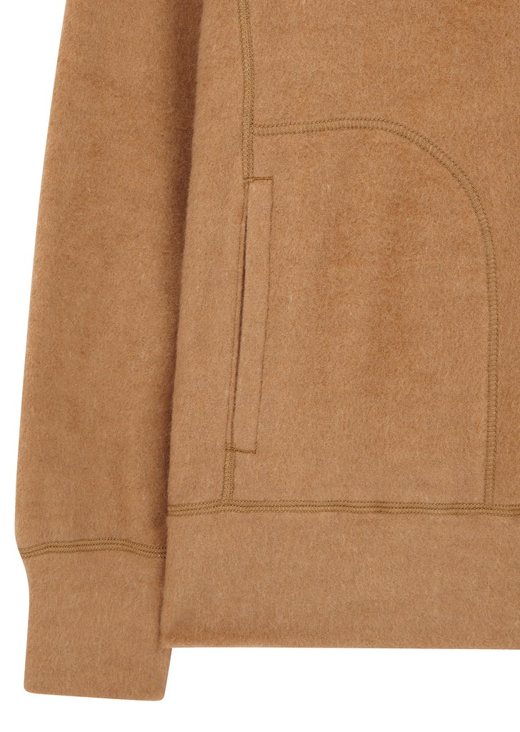 AW17 MAN Camel Blend Hooded Sweater in Brown
