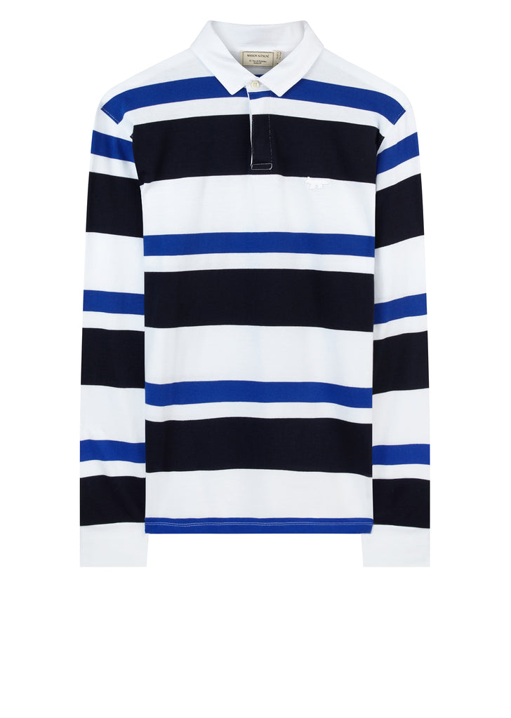 Long Sleeve Striped Polo Shirt in Navy and Royal Blue