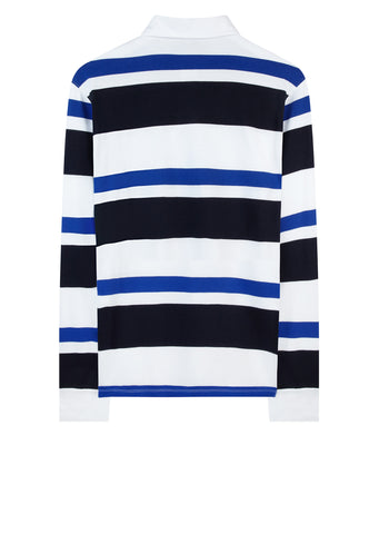 AW17 Long Sleeve Striped Polo Shirt in Navy and Royal Blue