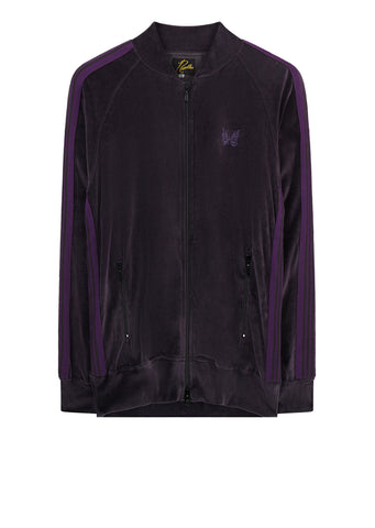 AW17 Rib Collar Velour Track Jacket in Charcoal and Purple