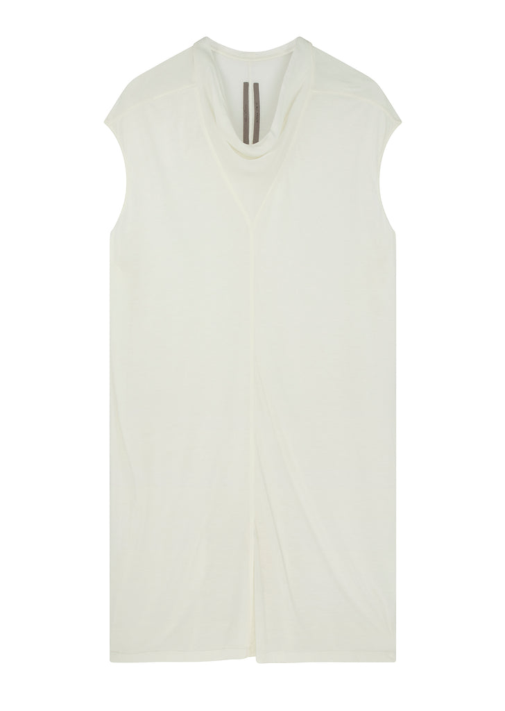 Sleeveless Cowl-Neck T-Shirt in White