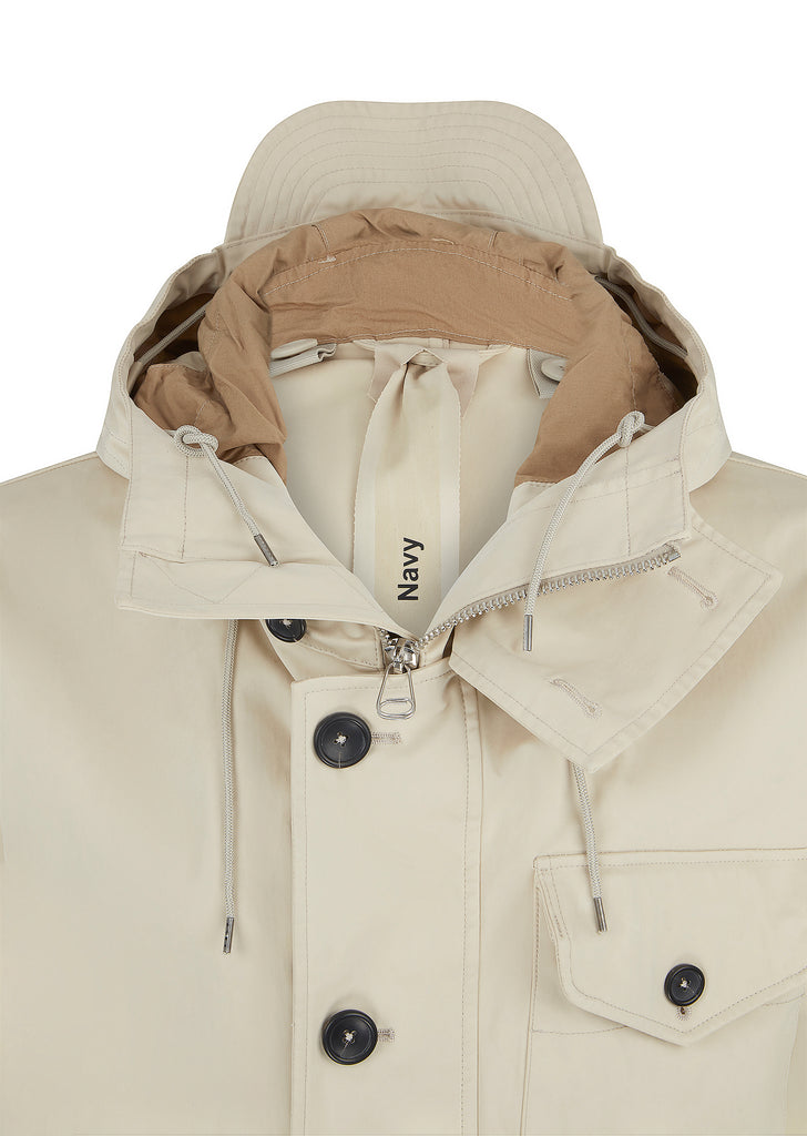 Navy Parka in Ecru