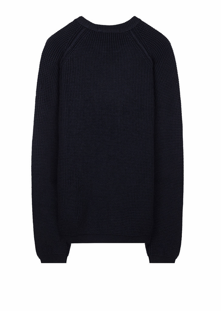 7 Gauge Merino Wool Crew in Navy